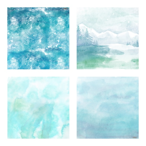 Print on Demand: Digital Scrapbook Paper - Watercolor Winter and Ice Scenes - in Aqua & Blue Colors Graphic Patterns By daphnepopuliers - Image 2