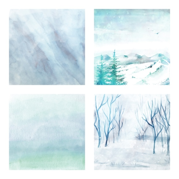 Print on Demand: Digital Scrapbook Paper - Watercolor Winter and Ice Scenes - in Aqua & Blue Colors Graphic Patterns By daphnepopuliers - Image 3