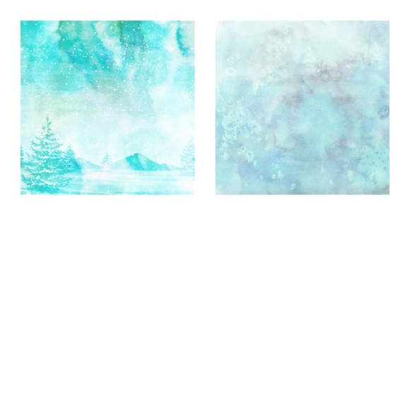 Print on Demand: Digital Scrapbook Paper - Watercolor Winter and Ice Scenes - in Aqua & Blue Colors Graphic Patterns By daphnepopuliers - Image 4