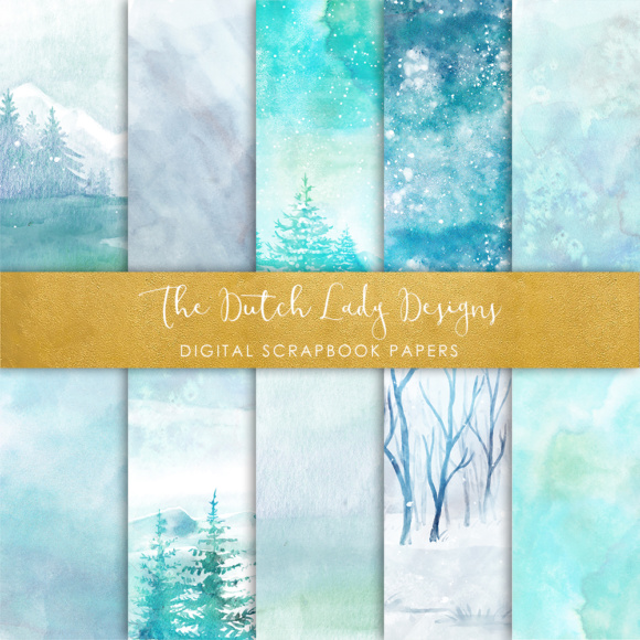 Print on Demand: Digital Scrapbook Paper - Watercolor Winter and Ice Scenes - in Aqua & Blue Colors Graphic Patterns By daphnepopuliers - Image 5