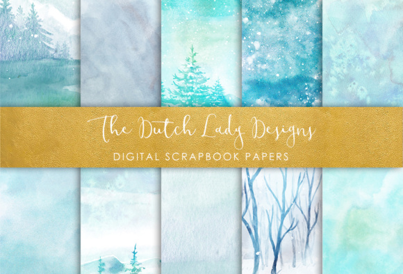 Print on Demand: Digital Scrapbook Paper - Watercolor Winter and Ice Scenes - in Aqua & Blue Colors Graphic Patterns By daphnepopuliers