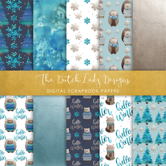 Print on Demand: Digital Scrapbook Paper - Winter Forest Animal Friends Graphic Patterns By daphnepopuliers - Image 5