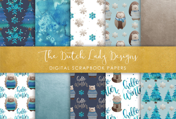 Download Free Digital Scrapbook Paper Winter Forest Animal Friends Graphic for Cricut Explore, Silhouette and other cutting machines.
