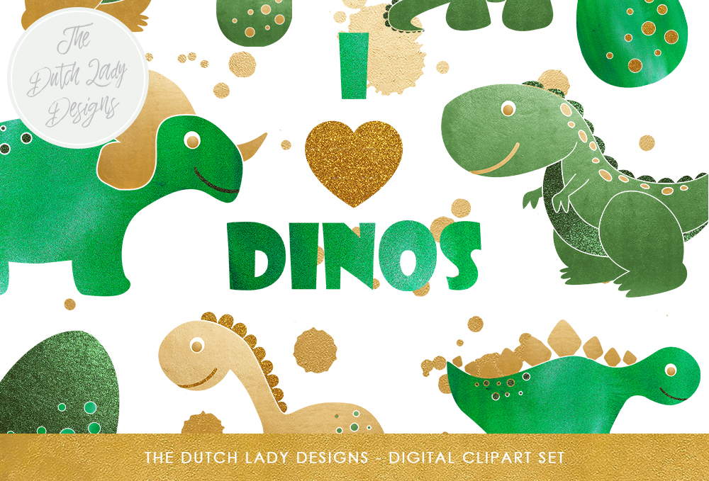 Print on Demand: Dinosaur Clipart Set Graphic Illustrations By daphnepopuliers