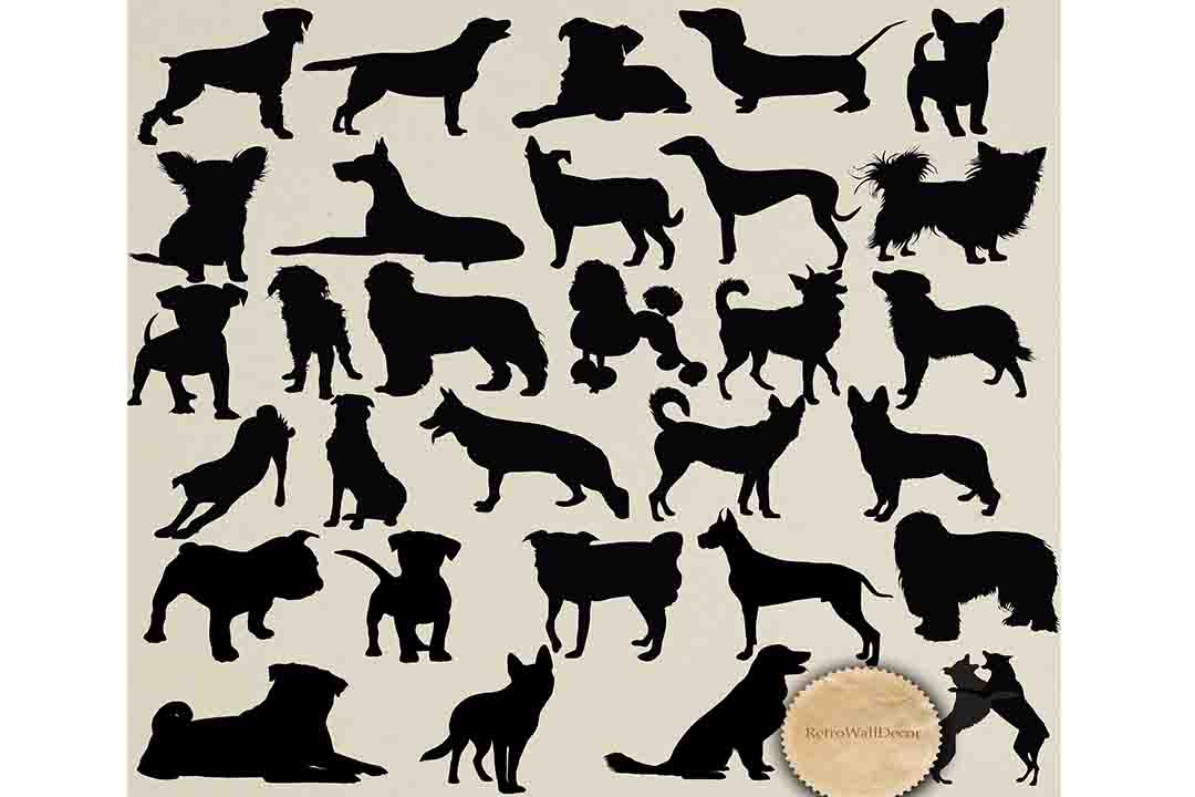 Print on Demand: Dog Silhouette Graphic Illustrations By retrowalldecor
