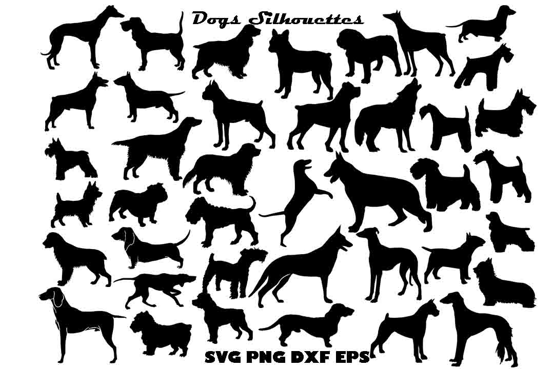 Download Free Dogs Silhouettes Graphic By Twelvepapers Creative Fabrica for Cricut Explore, Silhouette and other cutting machines.