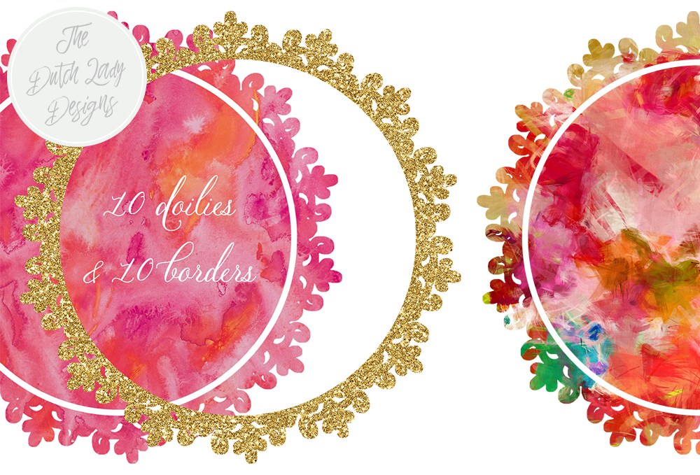 Print on Demand: Doily & Border Clipart Set - Gold, Glitter and Rainbow Watercolors Graphic Crafts By daphnepopuliers - Image 3