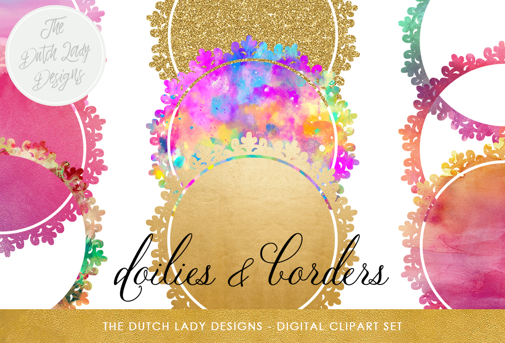 Print on Demand: Doily & Border Clipart Set - Gold, Glitter and Rainbow Watercolors Graphic Crafts By daphnepopuliers