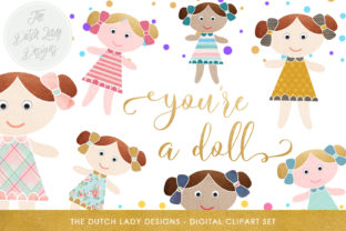 Download Free Doll Birthday Clipart Set Cute Doll Confetti And Golden Text SVG Cut Files