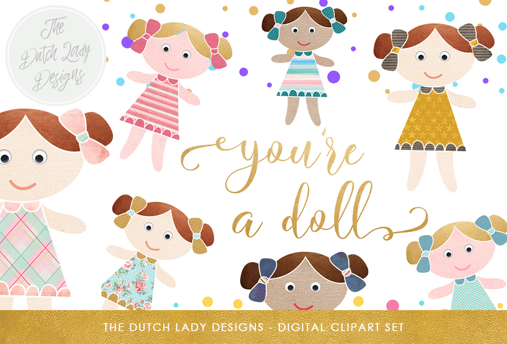 Download Free Doll Birthday Clipart Set Cute Doll Confetti And Golden Text Clipart Graphic By Daphnepopuliers Creative Fabrica for Cricut Explore, Silhouette and other cutting machines.