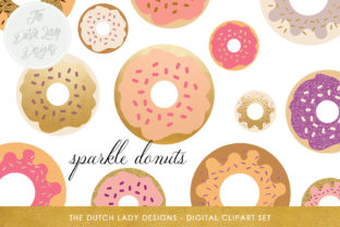 Donut Clipart Set - Food & Bakings Images - Golden, Glitter, Sparkles and Sprinkles Graphic By daphnepopuliers