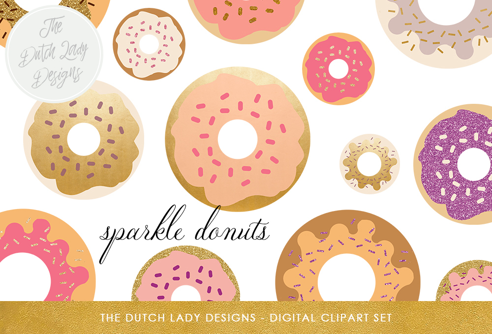Print on Demand: Donut Clipart Set - Food & Bakings Images - Golden, Glitter, Sparkles and Sprinkles Graphic Illustrations By daphnepopuliers