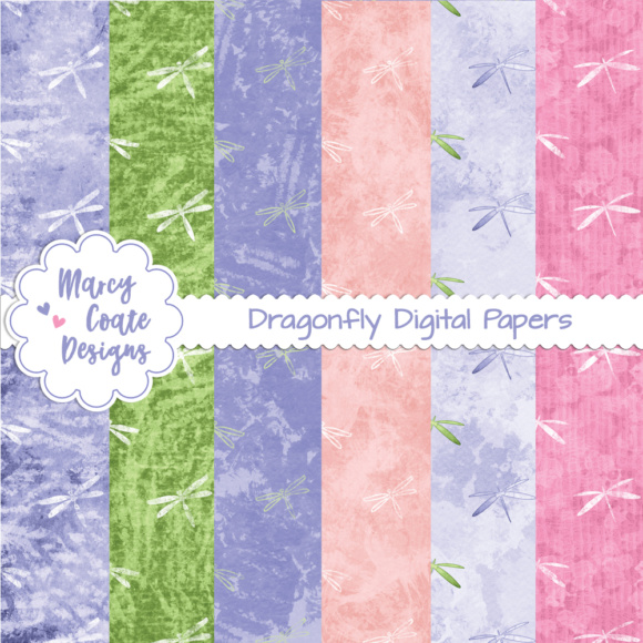 Dragonfly Fantasy Backgrounds Graphic Illustrations By MarcyCoateDesigns