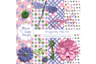 Dragonfly Fantasy Mini Scrapbook Kit Graphic Illustrations By MarcyCoateDesigns