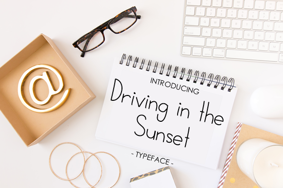 Print on Demand: Driving in the Sunset Script & Handwritten Font By yh.seaofknowledge