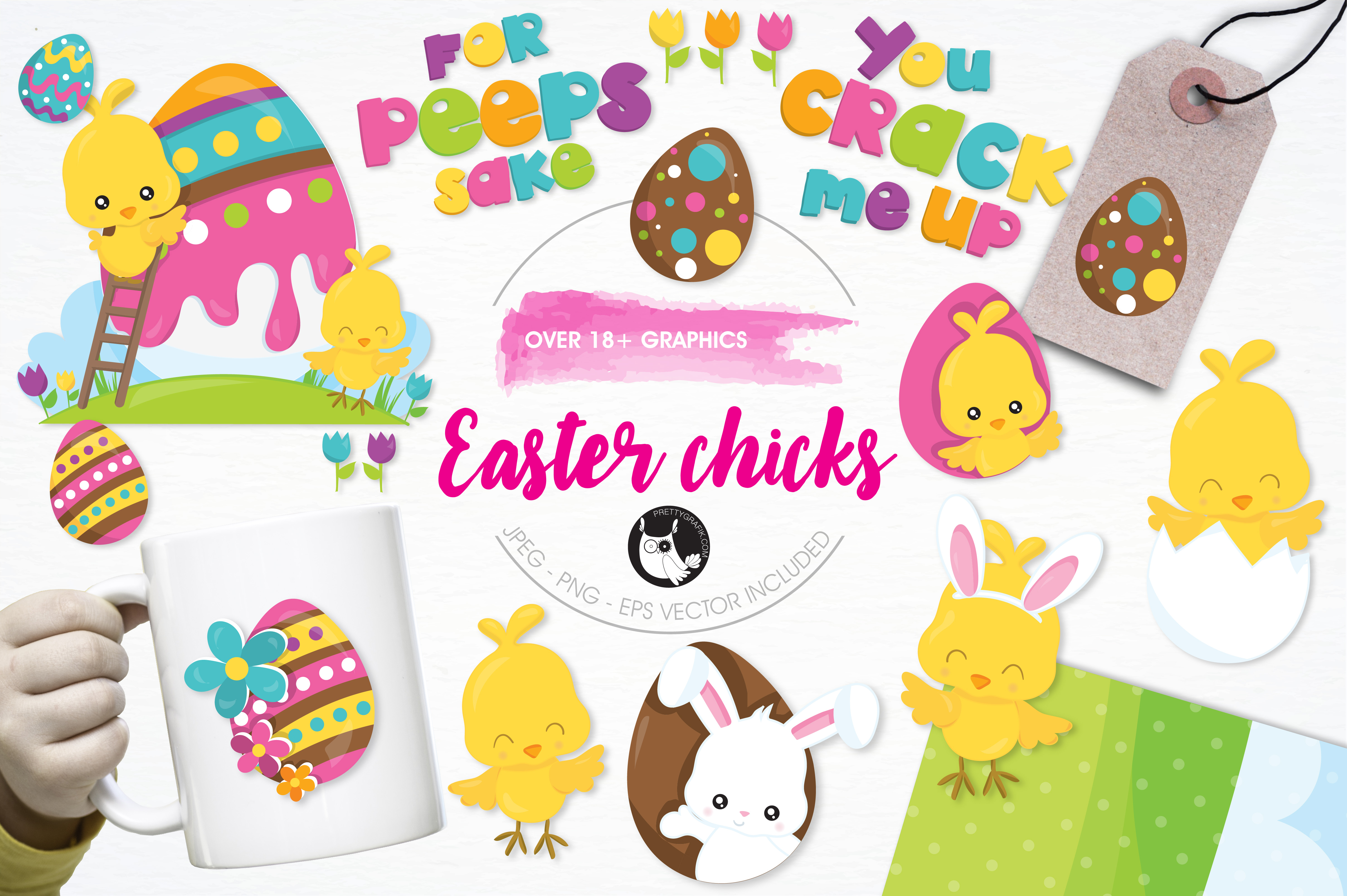 Print on Demand: Easter Chicks Gráfico Ilustraciones Por Prettygrafik