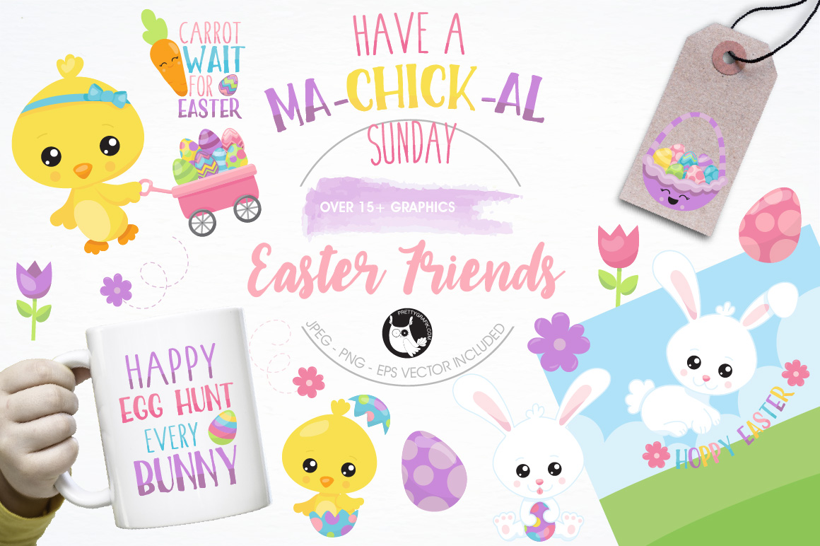 Print on Demand: Easter Friends Graphic Illustrations By Prettygrafik