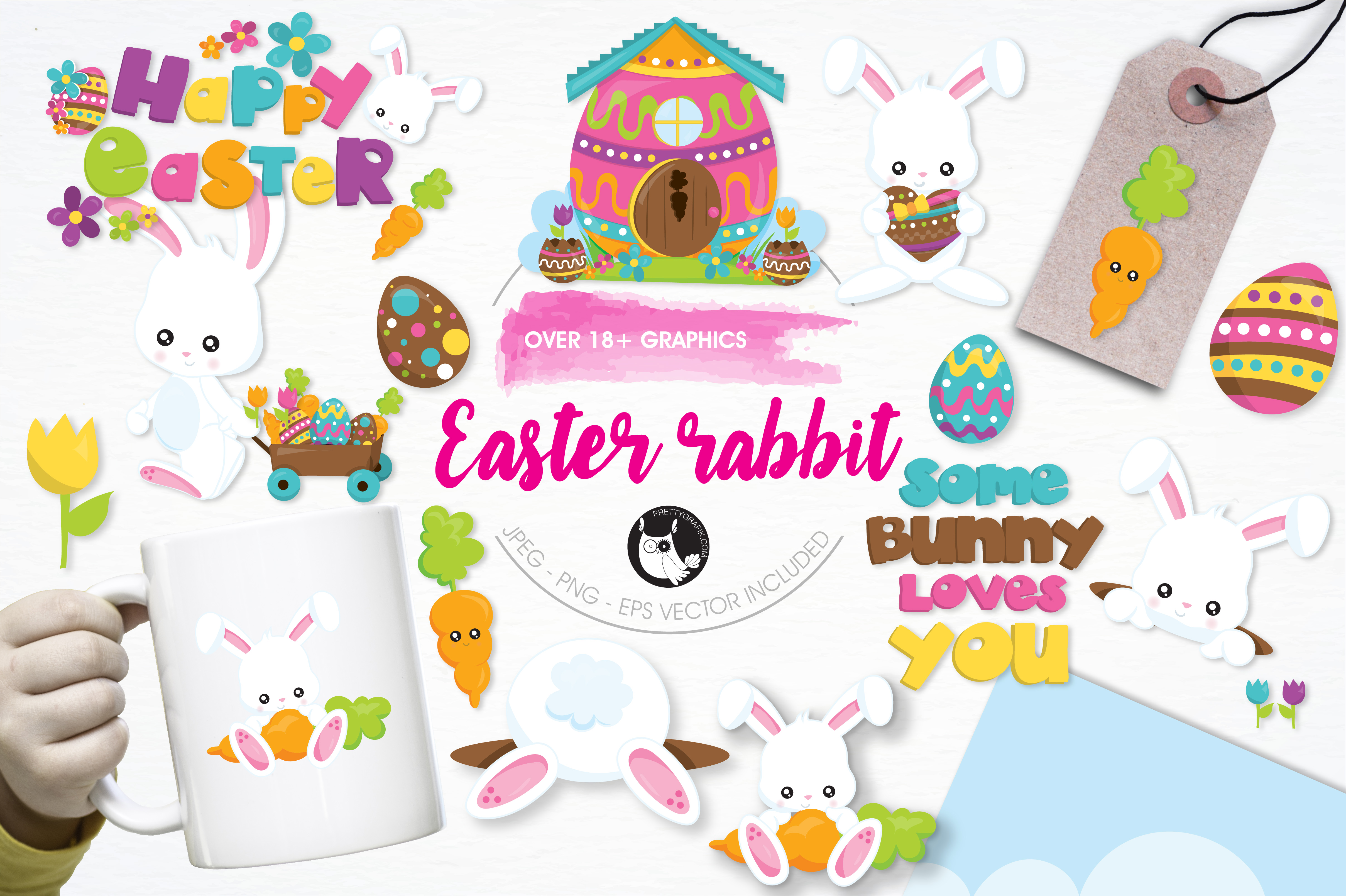 Print on Demand: Easter Rabbit Graphic Illustrations By Prettygrafik