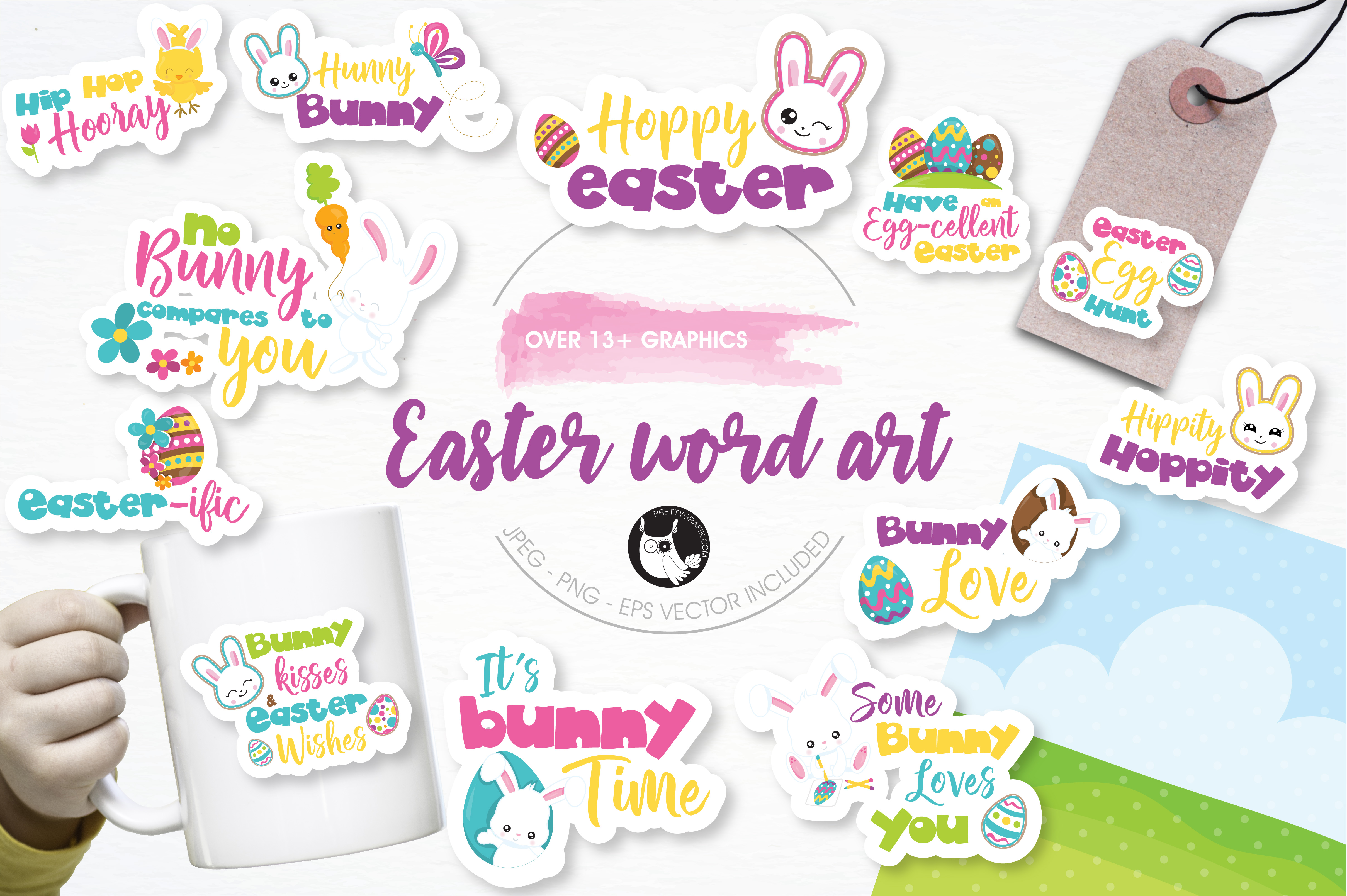 Download Free Easter Word Art Graphic By Prettygrafik Creative Fabrica for Cricut Explore, Silhouette and other cutting machines.