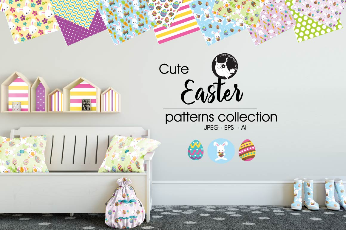 Print on Demand: Easter Graphic Patterns By Prettygrafik - Image 1