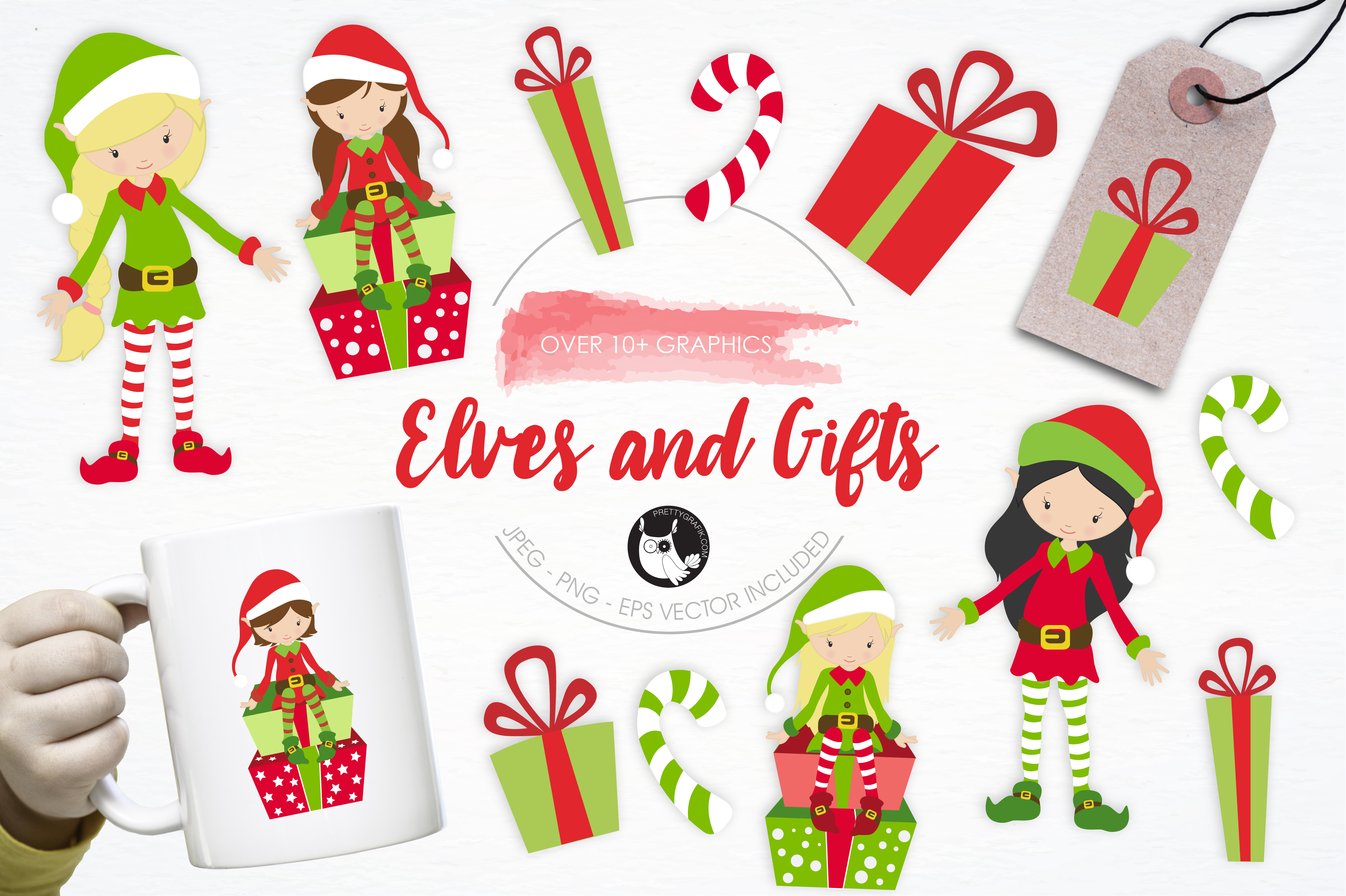 Print on Demand: Elves and Gifts Graphic Illustrations By Prettygrafik