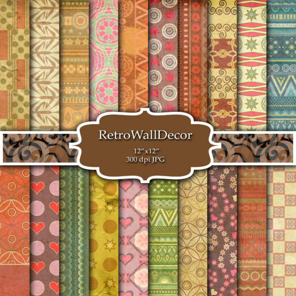 Print on Demand: Ethnic Digital Paper Graphic Backgrounds By retrowalldecor