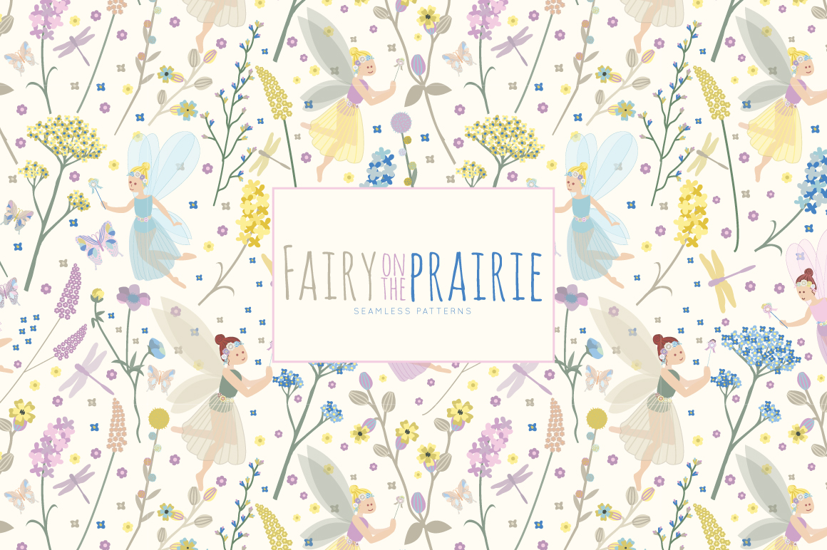 Download Free Fairy On The Prairie Seamless Vector Patterns Digital Paper for Cricut Explore, Silhouette and other cutting machines.