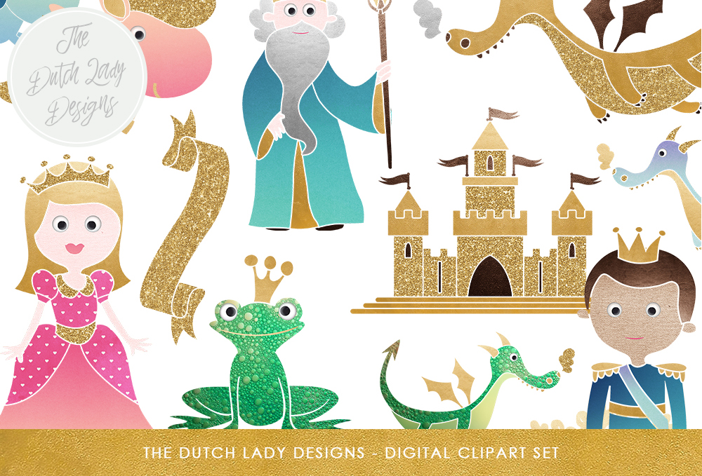 Print on Demand: Fairytale Clipart Set - Kids Graphics - Princess, Prince, Castle, Sorcerer, Frog, Dragon, & Unicorn Graphic Illustrations By daphnepopuliers