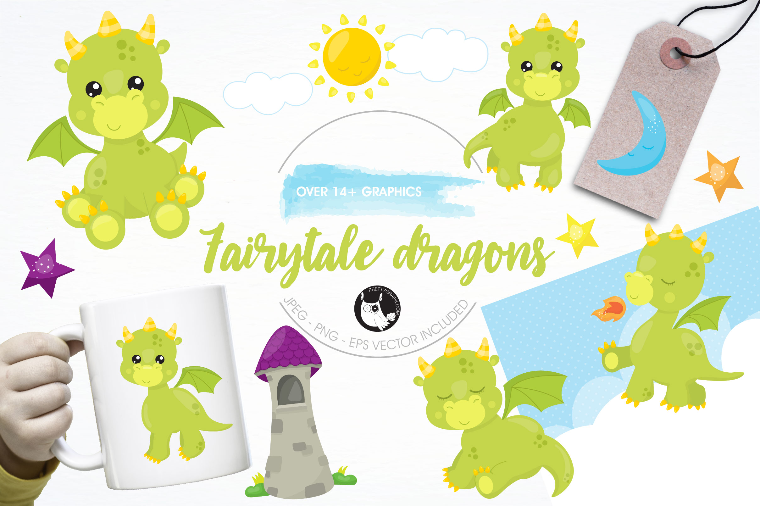 Print on Demand: Fairytale Dragons Graphic Illustrations By Prettygrafik