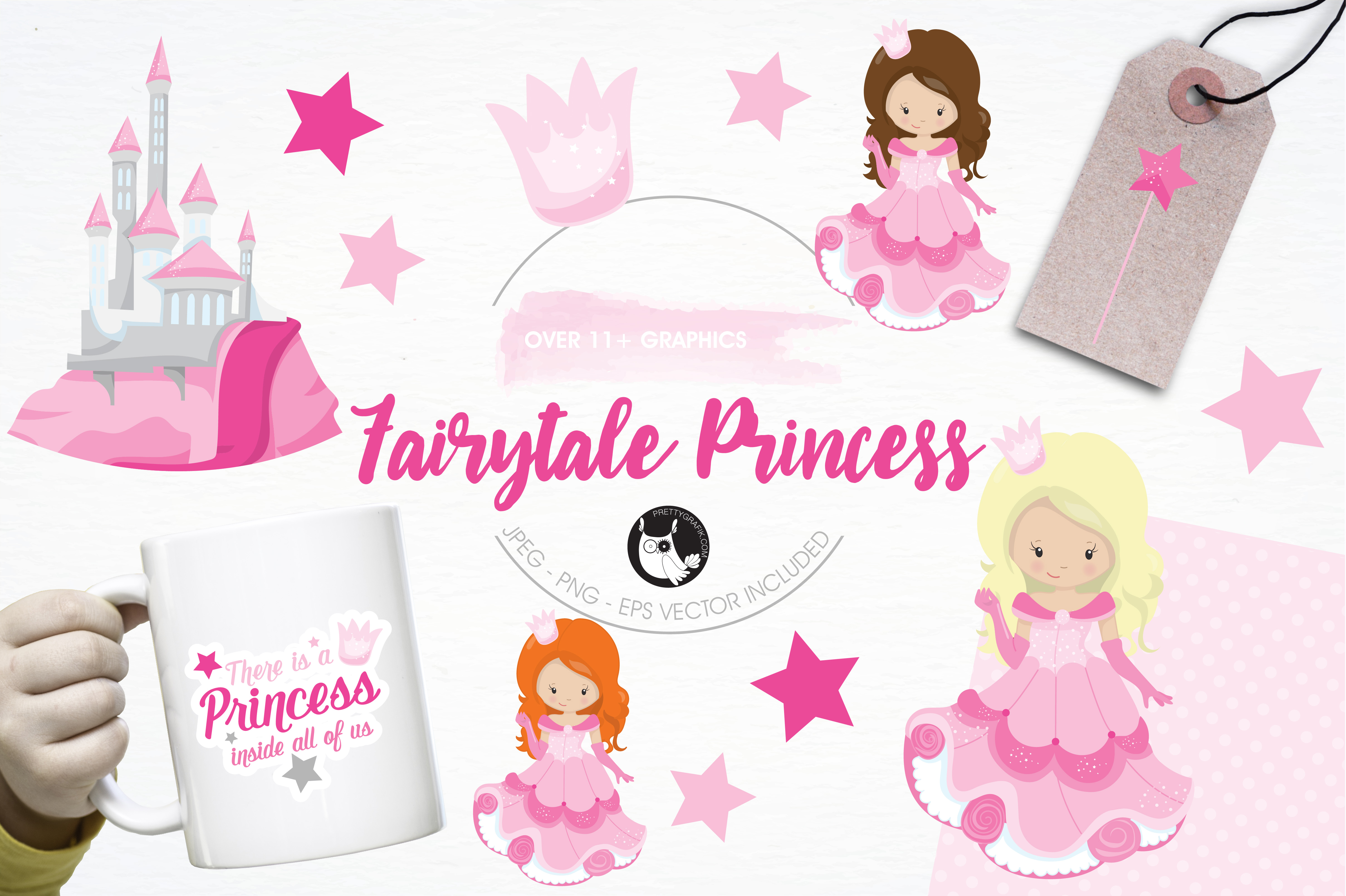 Print on Demand: Pink Fairytale Princess Graphic Illustrations By Prettygrafik - Image 1