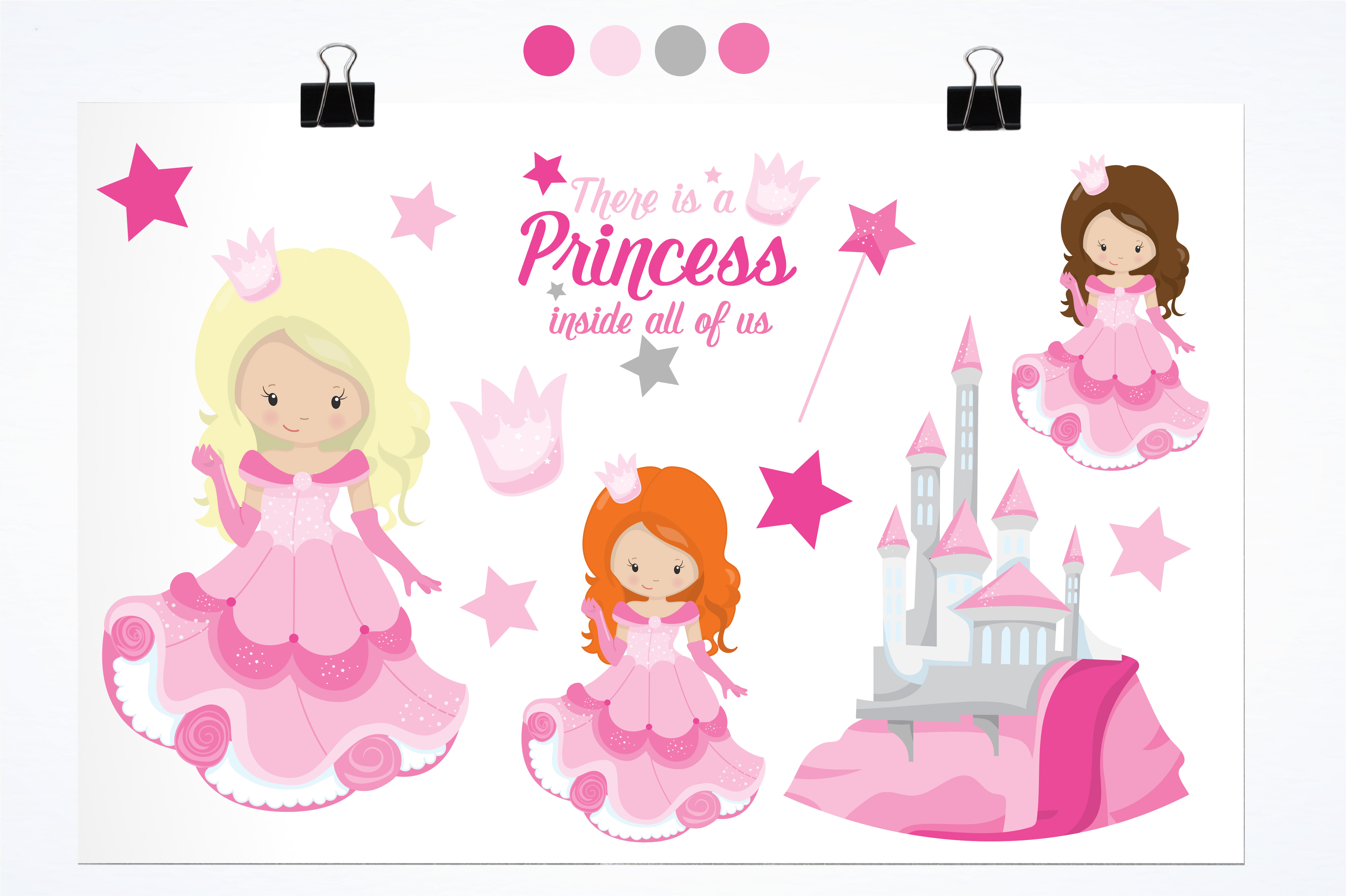Print on Demand: Pink Fairytale Princess Graphic Illustrations By Prettygrafik - Image 2