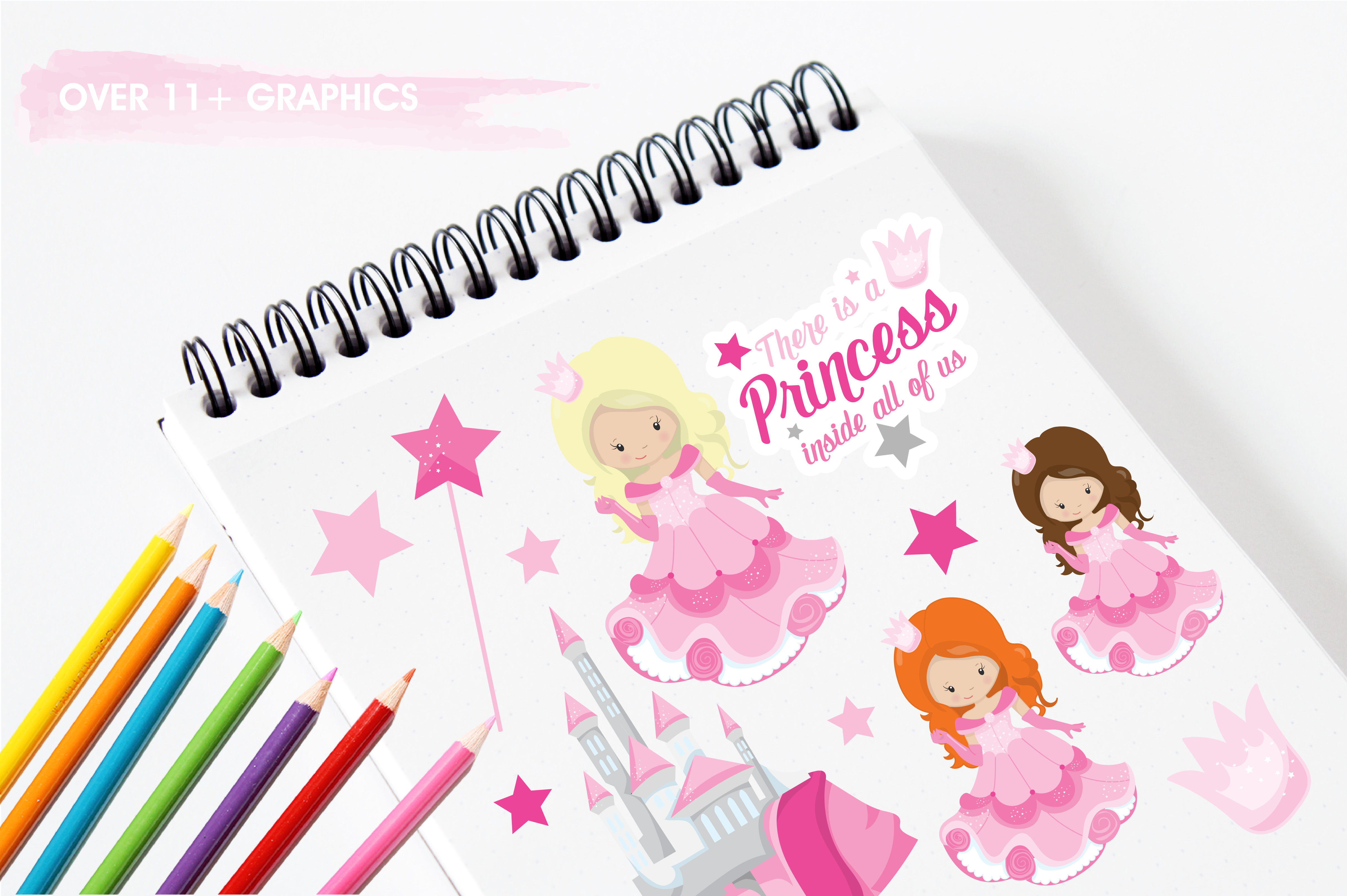 Print on Demand: Pink Fairytale Princess Graphic Illustrations By Prettygrafik - Image 3