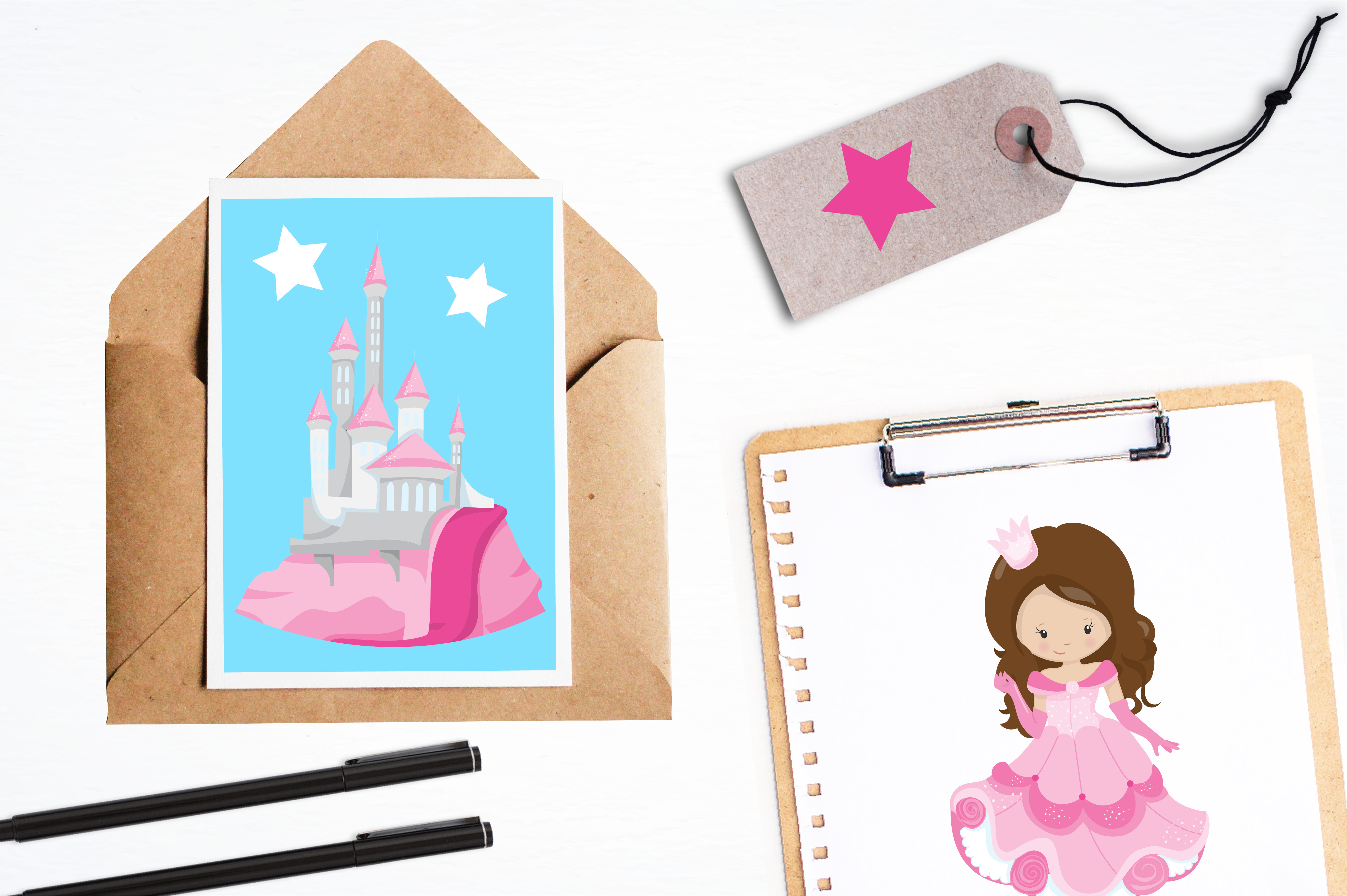 Print on Demand: Pink Fairytale Princess Graphic Illustrations By Prettygrafik - Image 4