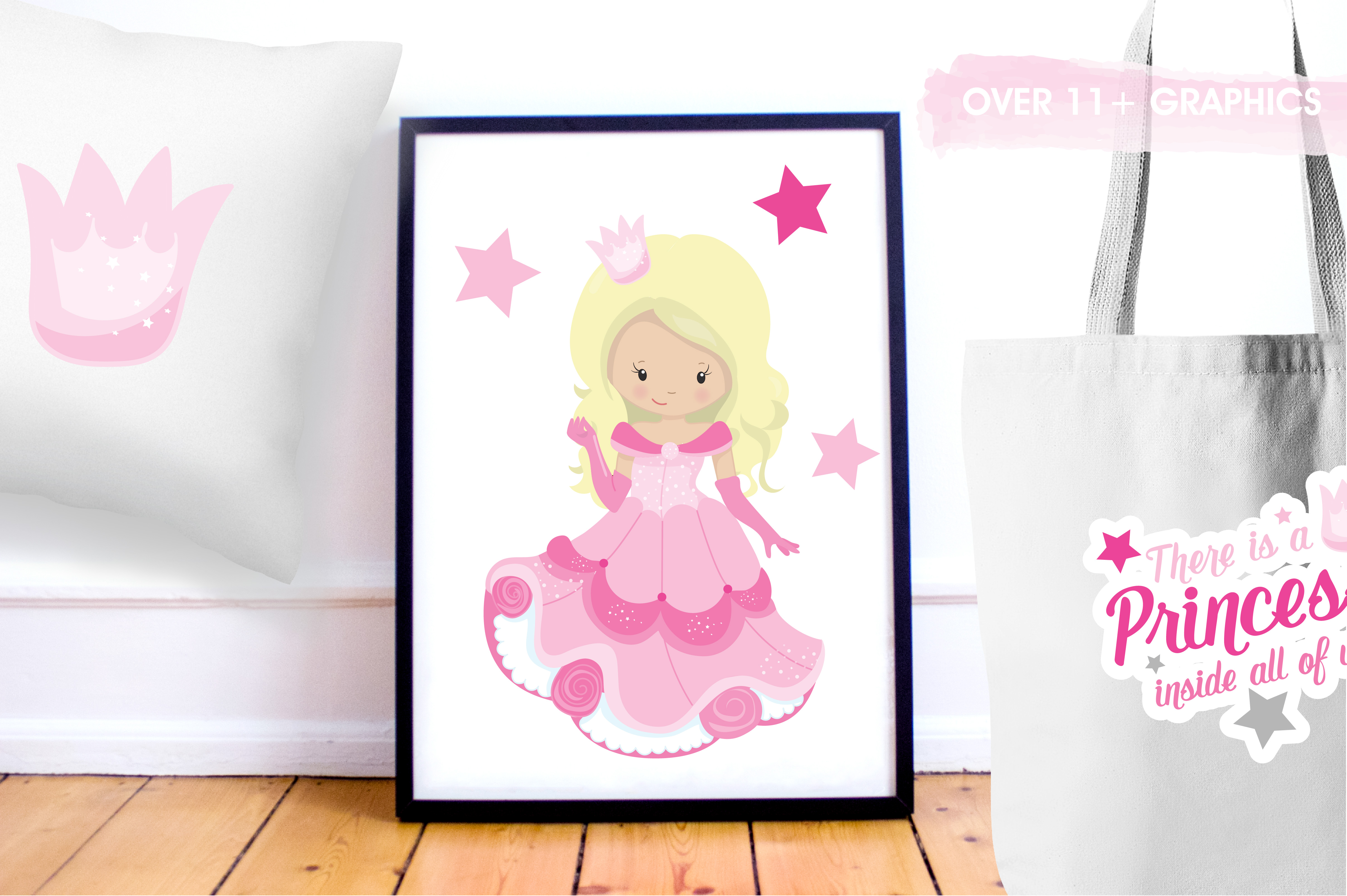 Print on Demand: Pink Fairytale Princess Graphic Illustrations By Prettygrafik - Image 5
