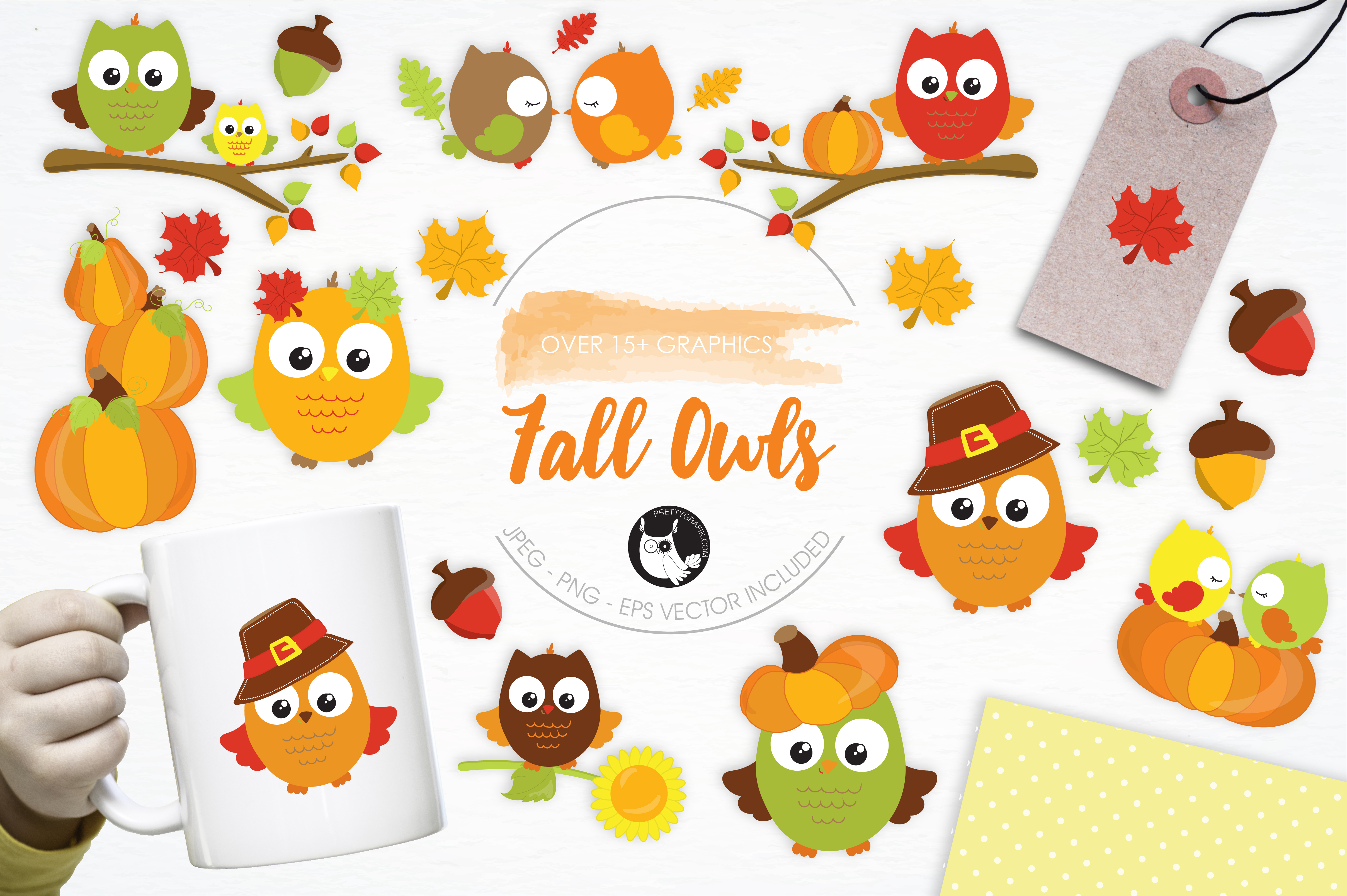 Download Free Fall Owls Graphic By Prettygrafik Creative Fabrica for Cricut Explore, Silhouette and other cutting machines.