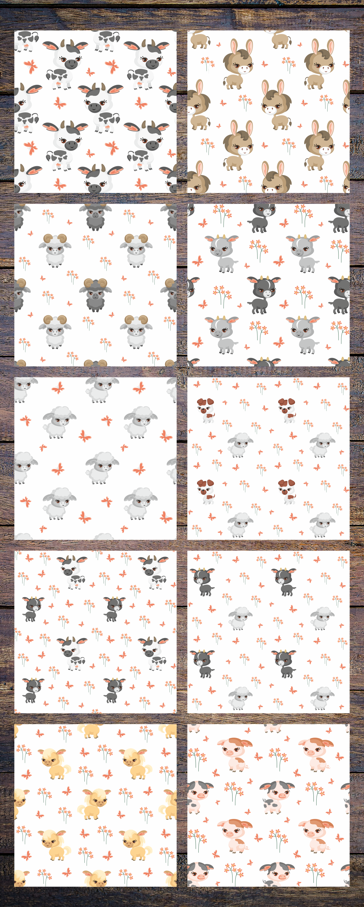 Print on Demand: Farm Animals Seamless Patterns Graphic Patterns By Olga Belova - Image 2