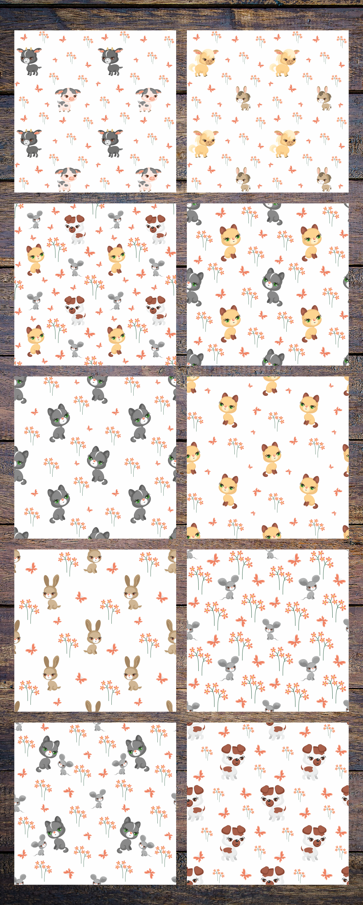 Print on Demand: Farm Animals Seamless Patterns Graphic Patterns By Olga Belova - Image 3