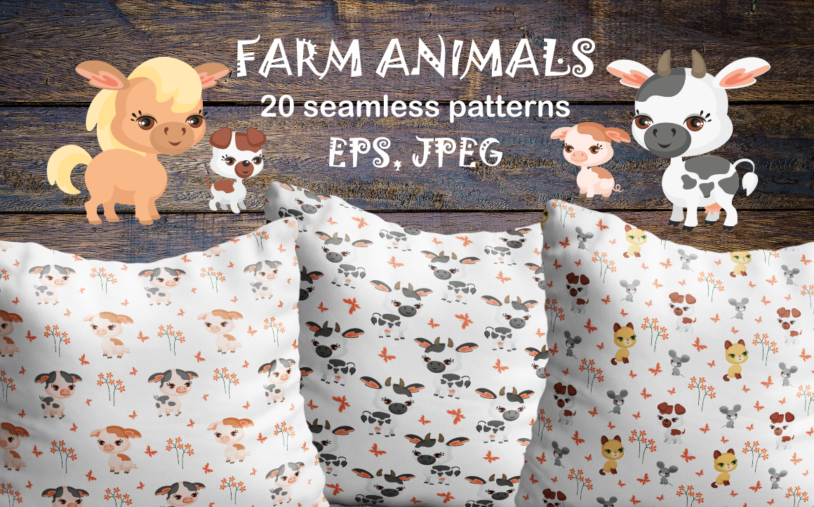 Print on Demand: Farm Animals Seamless Patterns Graphic Patterns By Olga Belova - Image 1