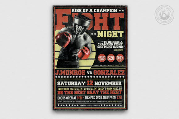 Fight Night Flyer Template Graphic Print Templates By ThatsDesignStore - Image 2