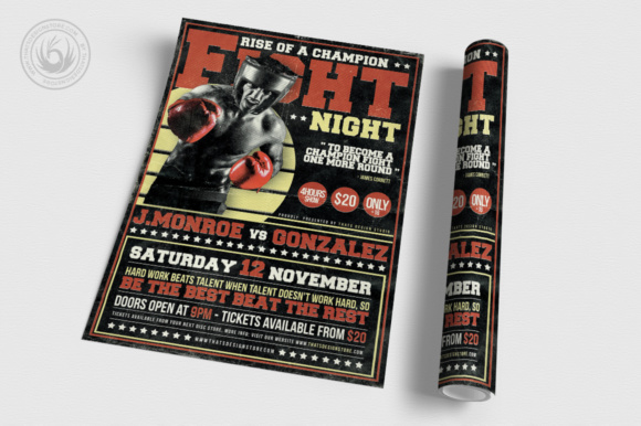 Fight Night Flyer Template Graphic Print Templates By ThatsDesignStore - Image 3