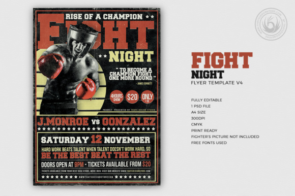 Fight Night Flyer Template Graphic Print Templates By ThatsDesignStore - Image 1