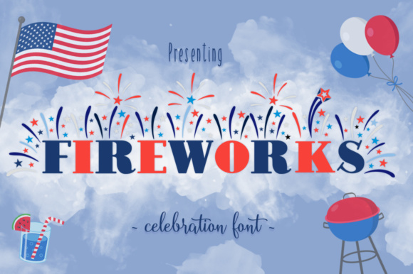 Print on Demand: Fireworks Decorative Font By Anastasia Feya