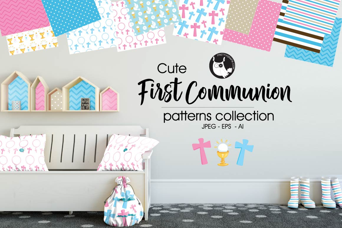 Download Free First Communion Graphic By Prettygrafik Creative Fabrica for Cricut Explore, Silhouette and other cutting machines.