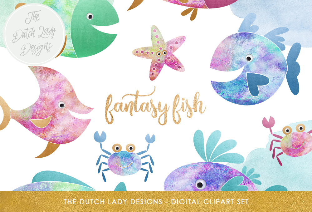 Print on Demand: Fish Clipart Set Graphic Illustrations By daphnepopuliers