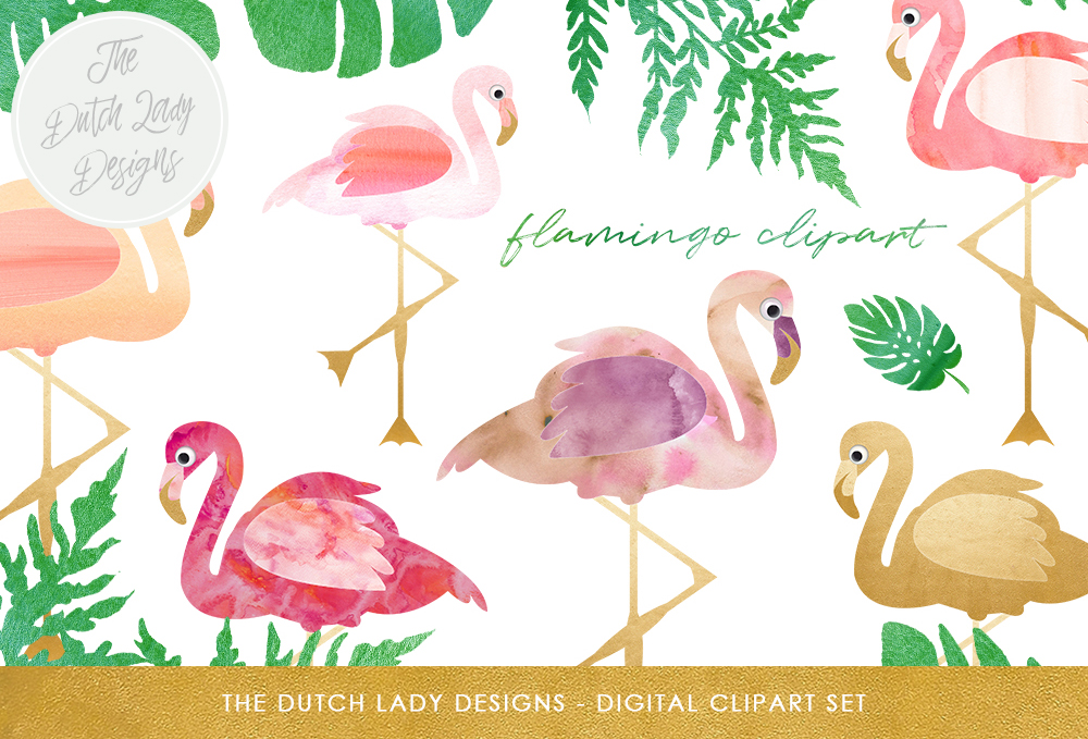 Print on Demand: Flamingo Clipart Set Graphic Illustrations By daphnepopuliers