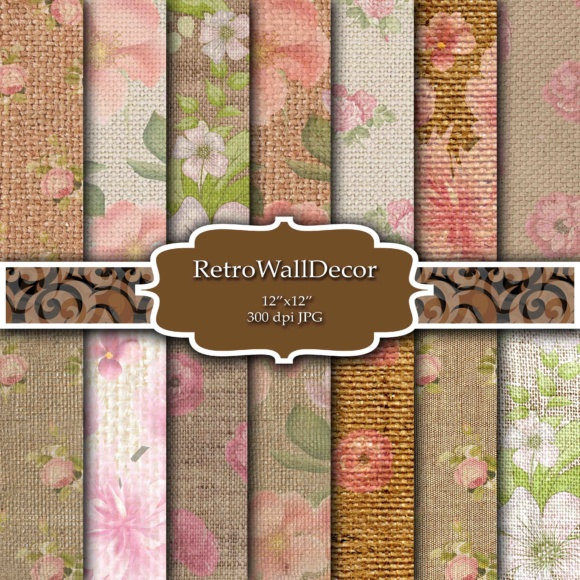 Print on Demand: Floral Burlap Digital Papers Graphic Backgrounds By retrowalldecor
