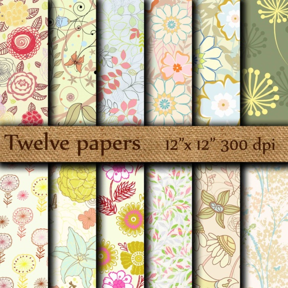 Floral Digital Papers Graphic Backgrounds By twelvepapers - Image 1