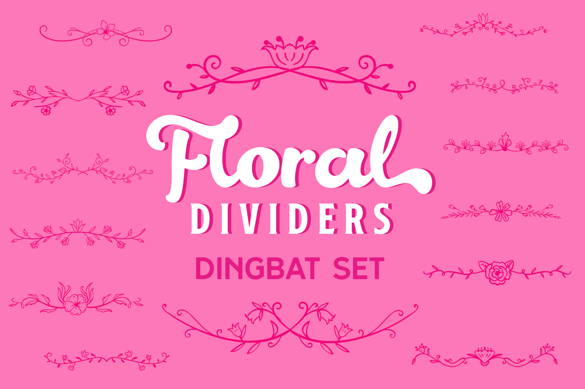 Print on Demand: Floral Dividers Dingbat Set Dingbats Schriftarten von Creative Fabrica Fonts