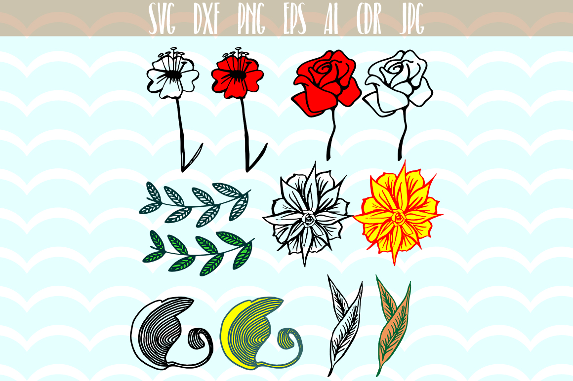 Download Free Floral Elements Files Graphic By Vector City Skyline Creative for Cricut Explore, Silhouette and other cutting machines.