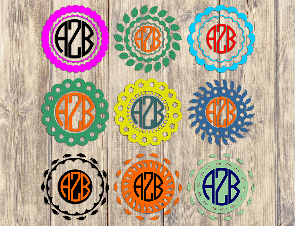 Floral Round Monogram Frames Svg Design Graphic By Vector City